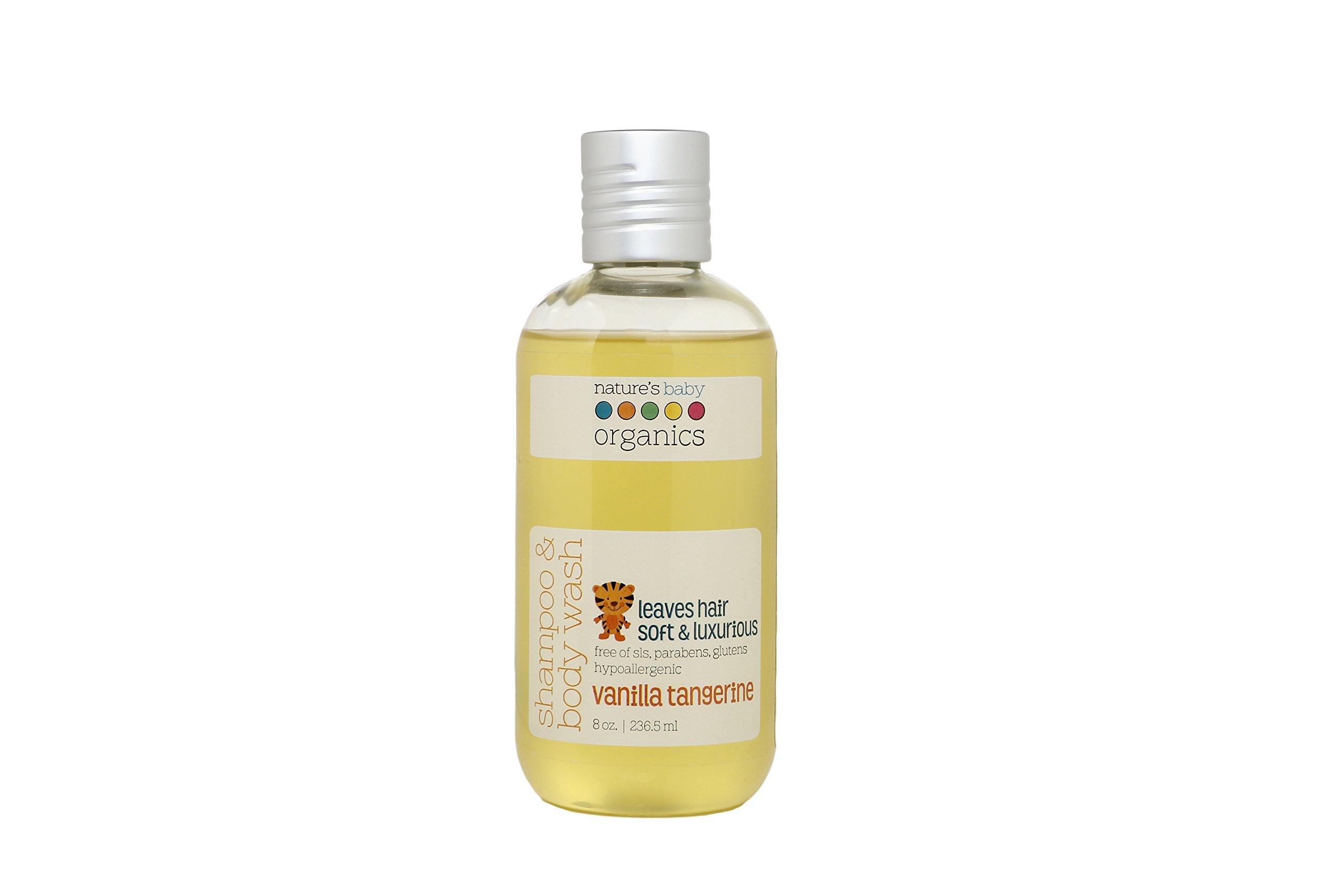 Nature's Baby Organics Shampoo & Body Wash, Vanilla Tangerine, 8 oz   Babies, Kids, & Adults! Natural, Moisturizing, Soft, Gentle, Rich, Hypoallergenic   No Chemicals, Parabens, SLS, Glutens