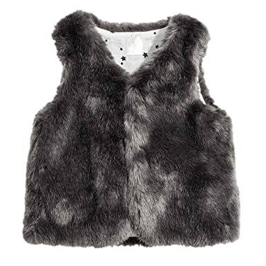 96874516fda Image Unavailable. Image not available for. Color: LJYH Girls Faux Fur Vest  Outerwear Brown
