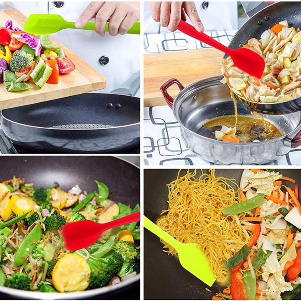 Heat Resistant Seamless Rubber Spatulas with Stainless Steel Core Kitchen Utensils Non-Stick for Cooking 21cm, Multicolor Baking and Mixing 5 Pieces Silicone Spatula