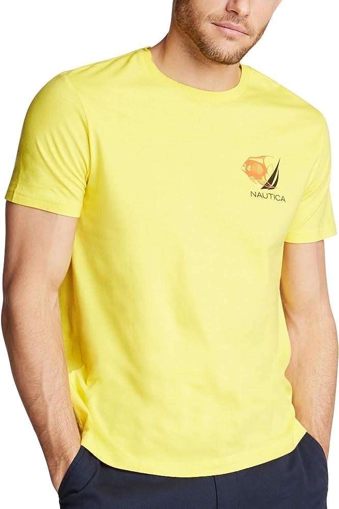 Nautica - Camiseta de manga corta para hombre, 100% algodón, estampado de pescado - Amarillo - Small: Amazon.es: Ropa y accesorios