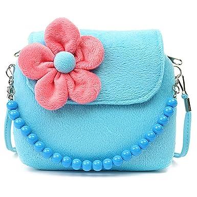 fb3e9653e64b Gloryhonor Children Kid Girls Princess Messenger Shoulder Bag Flower Beads  Chain Handbag (Blue)
