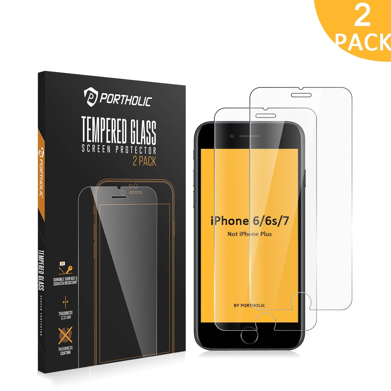 iPhone 6 6s 7 Protector de Pantalla, Cristal Vidrio Templado Premium 4.7'' PORTHOLIC [2-Unidades][9H Dureza][3D Touch][Alta Definicion] Anti-Explosion/HD-display/Anti-water,oil and fingerprints/0.33mm