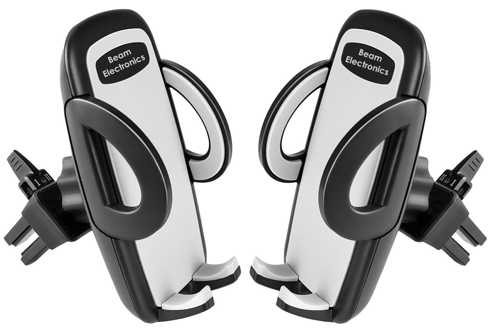Beam Electronics (2 PACK) Universal Smartphone Car Air Vent Mount Holder Cradle Compatible with iPhone X 8 8 Plus 7 7 Plus SE 6s 6 Plus 6 5s 5 4s 4 Samsung Galaxy S6 S5 S4 LG Nexus Sony Nokia and More