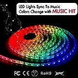 LED Strip Lights LED Lights Sync To Music 16.4Ft/5M LED Light Strip 300 LED Lights SMD 5050 Waterproof Flexible RGB Strip Lights IR Controller+12V 5A Power By DotStone
