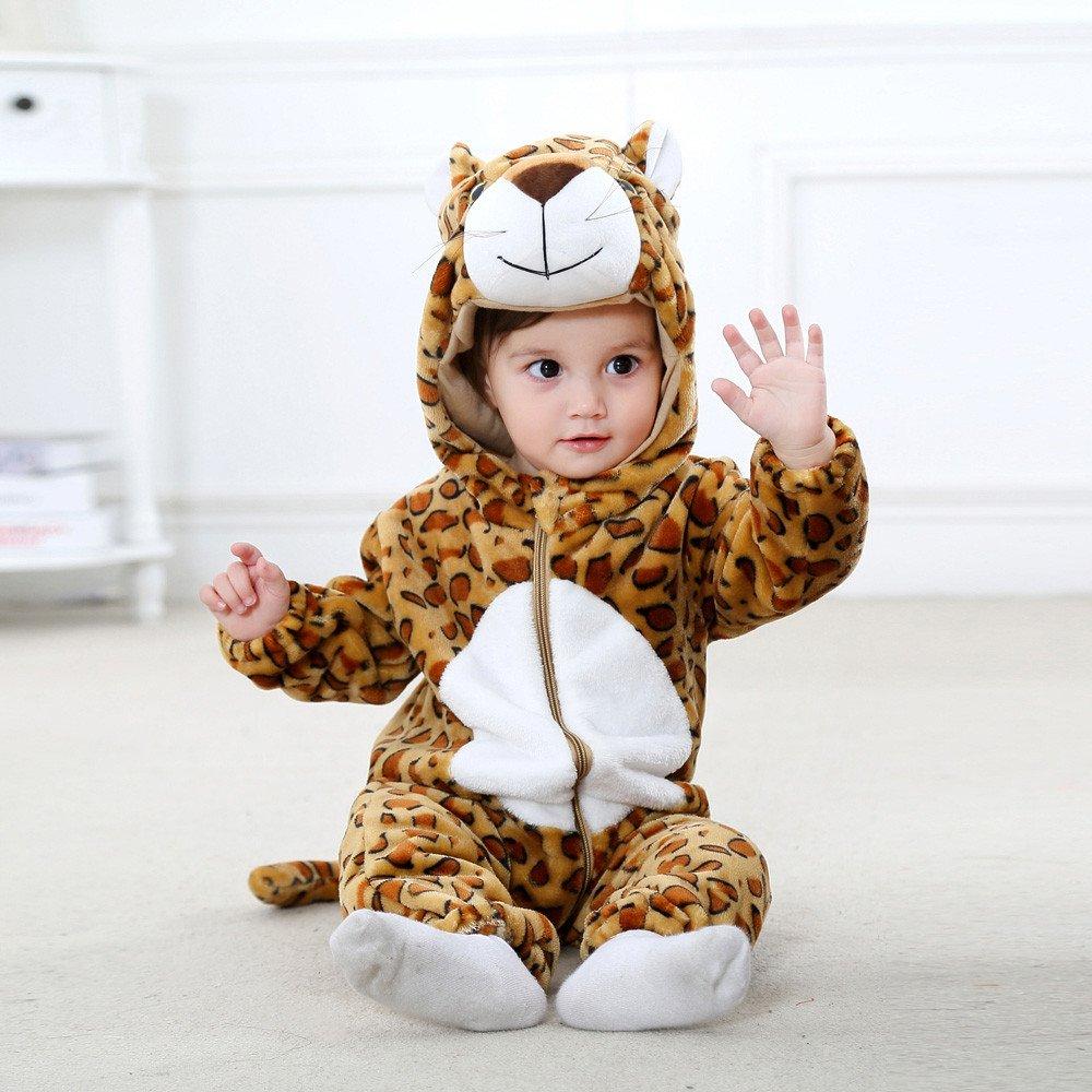 ❤ Mono Mameluco Invierno Franela Animal, Niño Recién Nacido Bebés y Niños Animal de Dibujos Animados con Capucha Mamelucos Trajes Ropa Absolute: ...