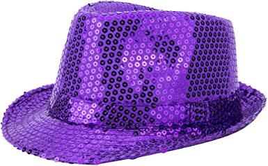 Yq Unisex Sequin Trilby Fedora Hats Sparkle Glitter