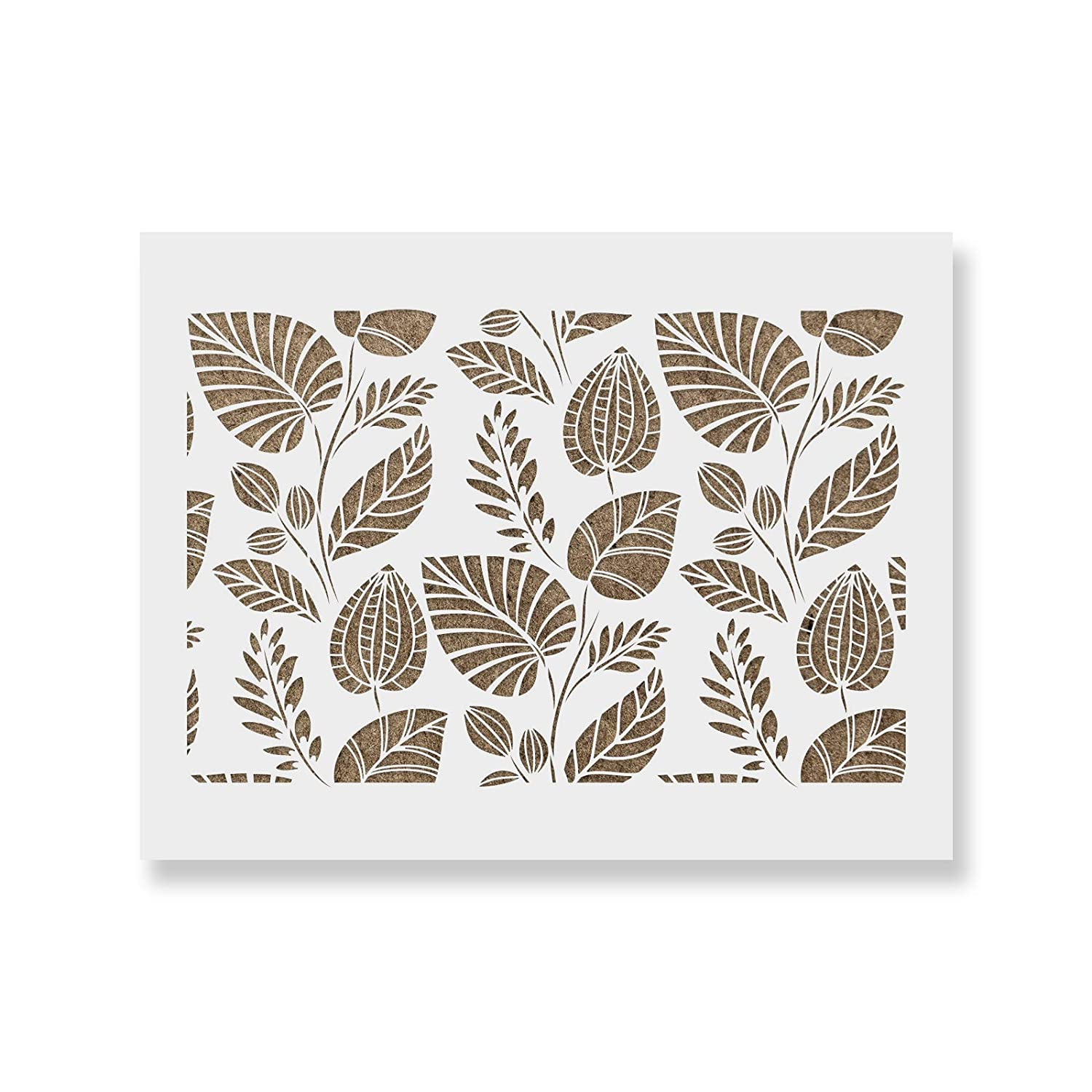 Scandinavian Palm Leaves Pattern Wall Stencil Reusable Stencils for Painting Create DIY Scandinavian Palm Leaves Pattern Wall Home Decor