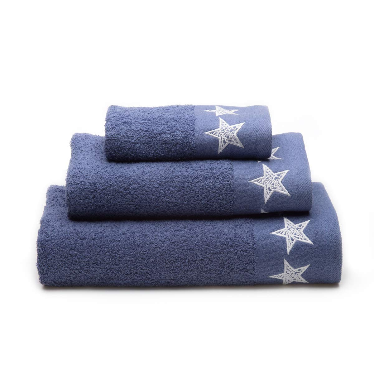 Sancarlos Stars Juego Toallas, 100% Algodó n, Azul Claro, 3/Piezas 100% Algodón 252302570202