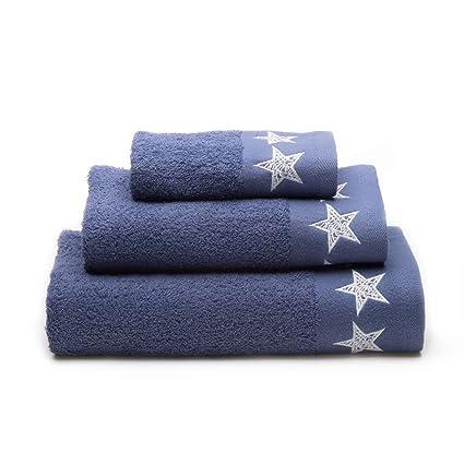 Sancarlos Stars Juego Toallas 100% Algodón, Azul Marino 3/Piezas