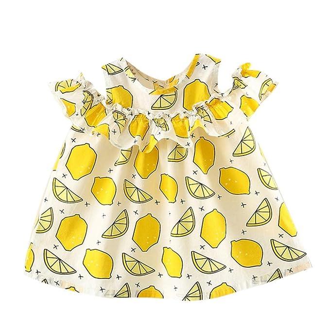 PAOLIAN Vestidos para bebe niñas Verano 2018 princesa Vestidos Impresion de fresa y Limón Sin Manga Volantes fiestas bautiz Vestidos de 6 Meses 12 Meses 18 ...