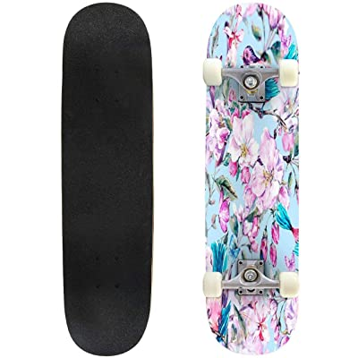 "floral background with tropical flowers, leaves and toucans vector Skateboard Complete Longboard 8 Layers Maple Decks Double Kick Concave Skate Board, Standard Tricks Skateboards Outdoors, 31""x8"" : Sports & Outdoors"