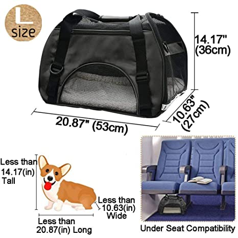 Amazon.com : EVELTEK Soft Side Pet Carrier Travel Bag Small Medium Dog, Cat Rabbit Carriers up to 18lbs Shoulder Strap, Safety Buckle Zippers, ...