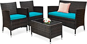 Tangkula 4 PCS Patio Rattan Conversation Set, Outdoor Wicker Furniture Set with Tempered Glass Coffee Table &Thick Cushion, Rattan Chair Wicker Set for Garden, Lawn, Poolside and Backyard