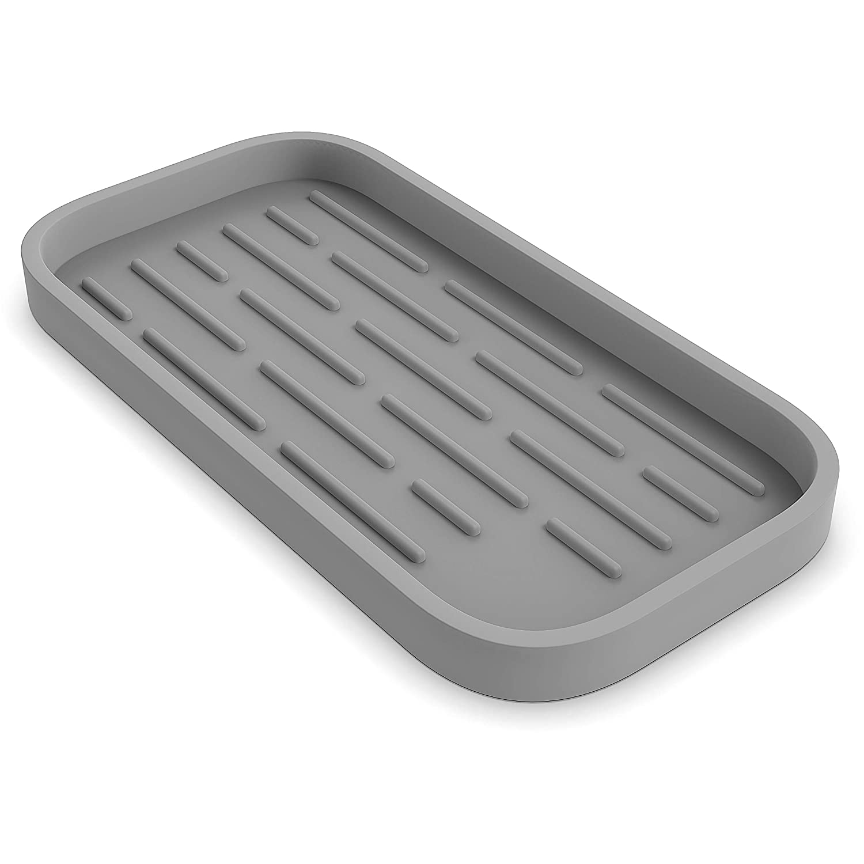 "ZAPPOWARE Kitchen Sink Organizer Caddy | Silicone Sponge Holder - Storage Tray for Dish Sponge | Soap Dispenser | Scrubber 9.6""x 4.9"" (Light Gray)"