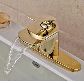 Rozin Gold Finish Waterfall Spout Single Lever Bathroom Sink Faucet With  Cover Plate