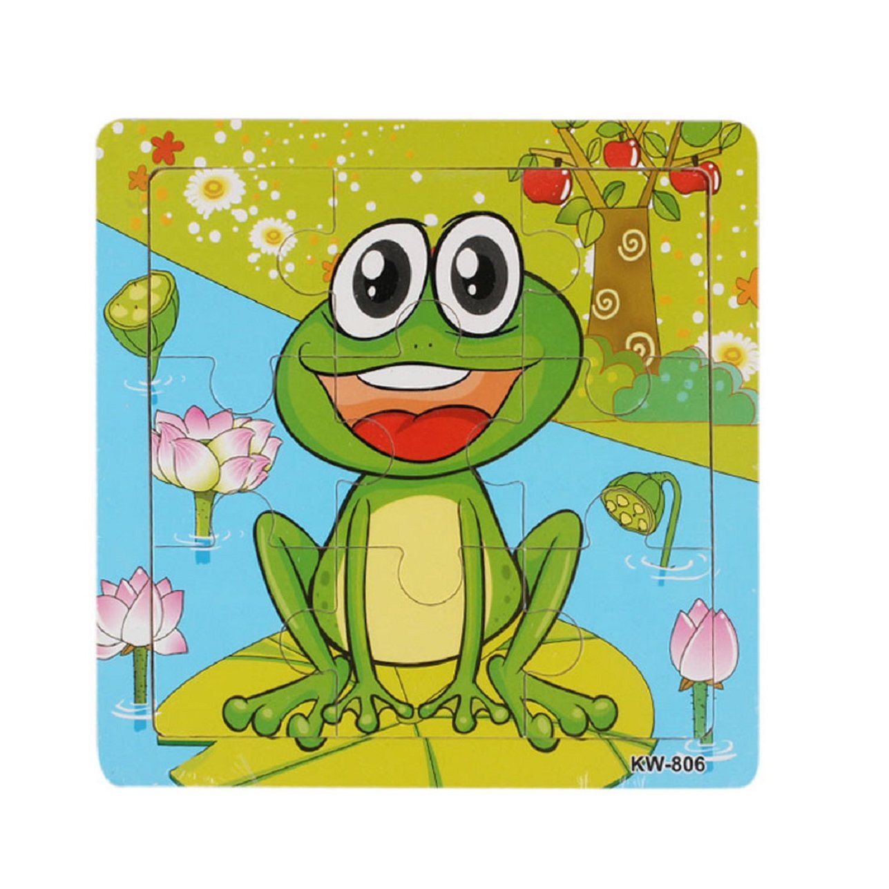 Sandistore Wooden Jigsaw Toys For Kids Education And Learning Puzzles Toys(Frog)