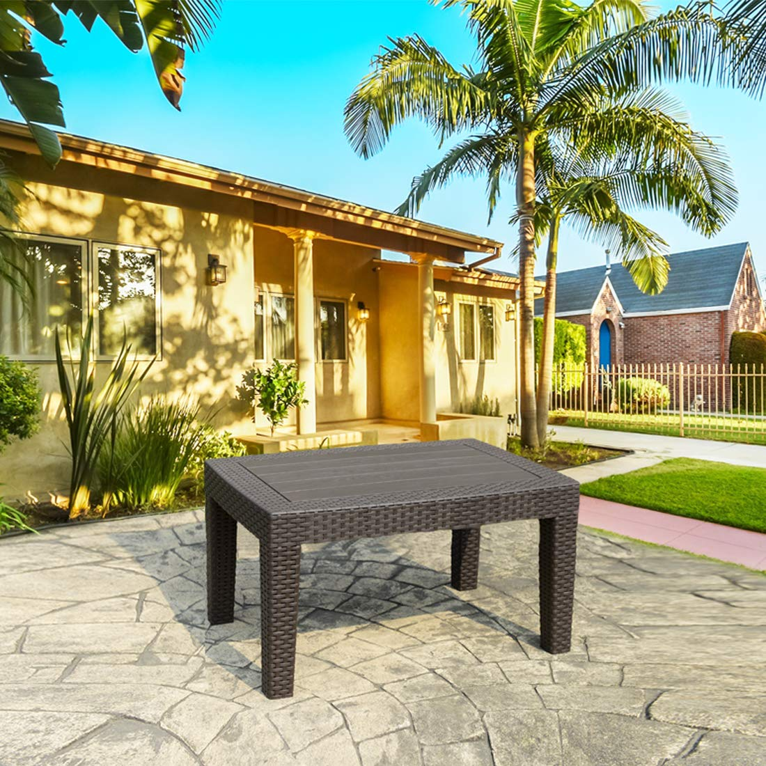 Thplus Resin Plastic Rattan Wicker Pattern Out Door Coffee Table All Weather Outdoor Patio Garden Backyard Furniture