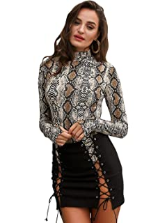 2033111f0750 Amazon.com: Women High Neck Snake Print Long Sleeve Bodysuit Tops ...