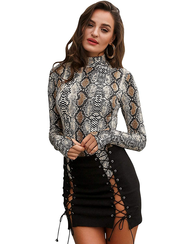 461cb11010 Glamaker Women s Sexy Long Sleeves Bodycon Snake Skin Print Bodysuit at  Amazon Women s Clothing store