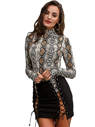 adf15072b9f6 Glamaker Women s Sexy Long Sleeves Bodycon Snake Skin Print Bodysuit at  Amazon Women s Clothing store