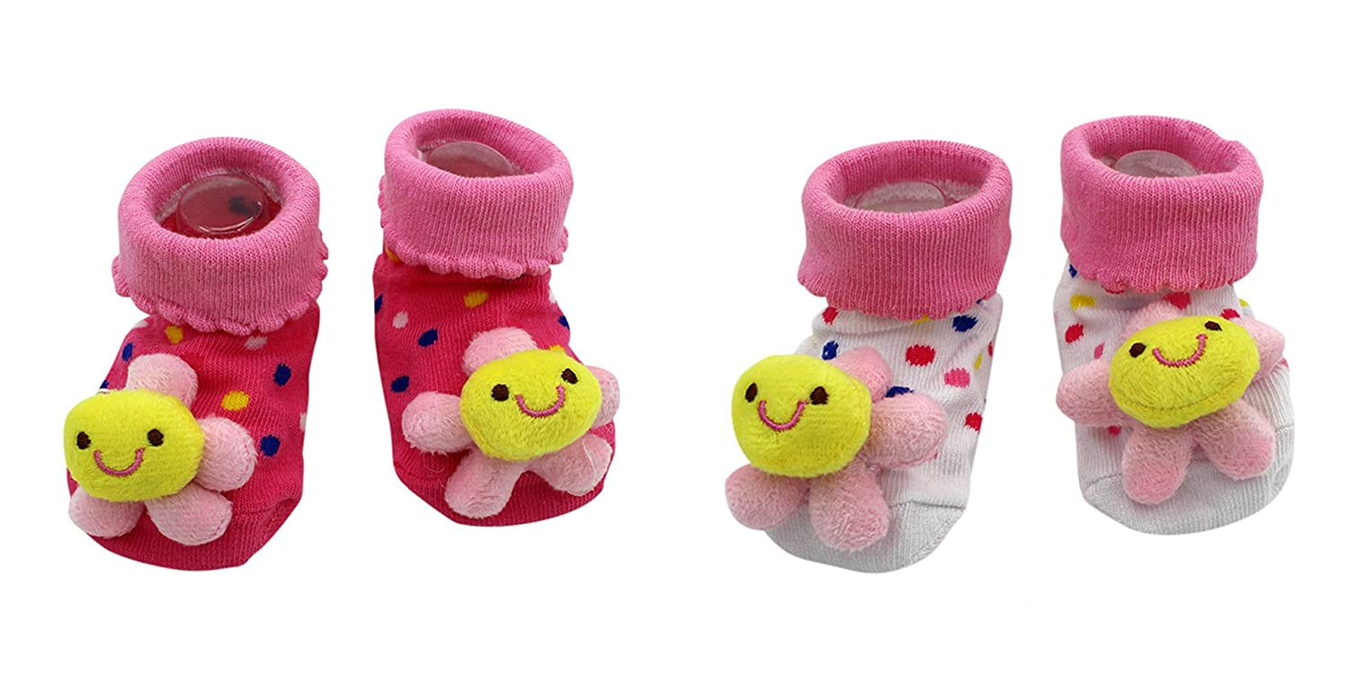 New Cute Baby Socks Pink Flowers Theme 2-Pack 3-12 Months w//Gift Box