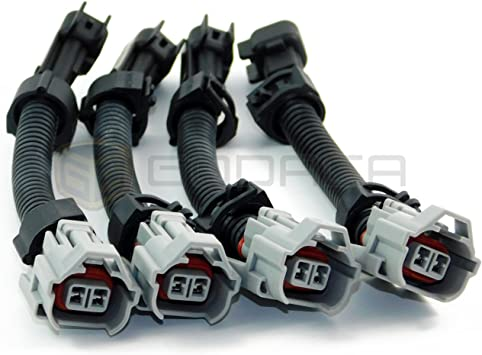 6-EV1 Female to EV6 Male Fuel Injector Connector Electrical Plug Clip Adapter