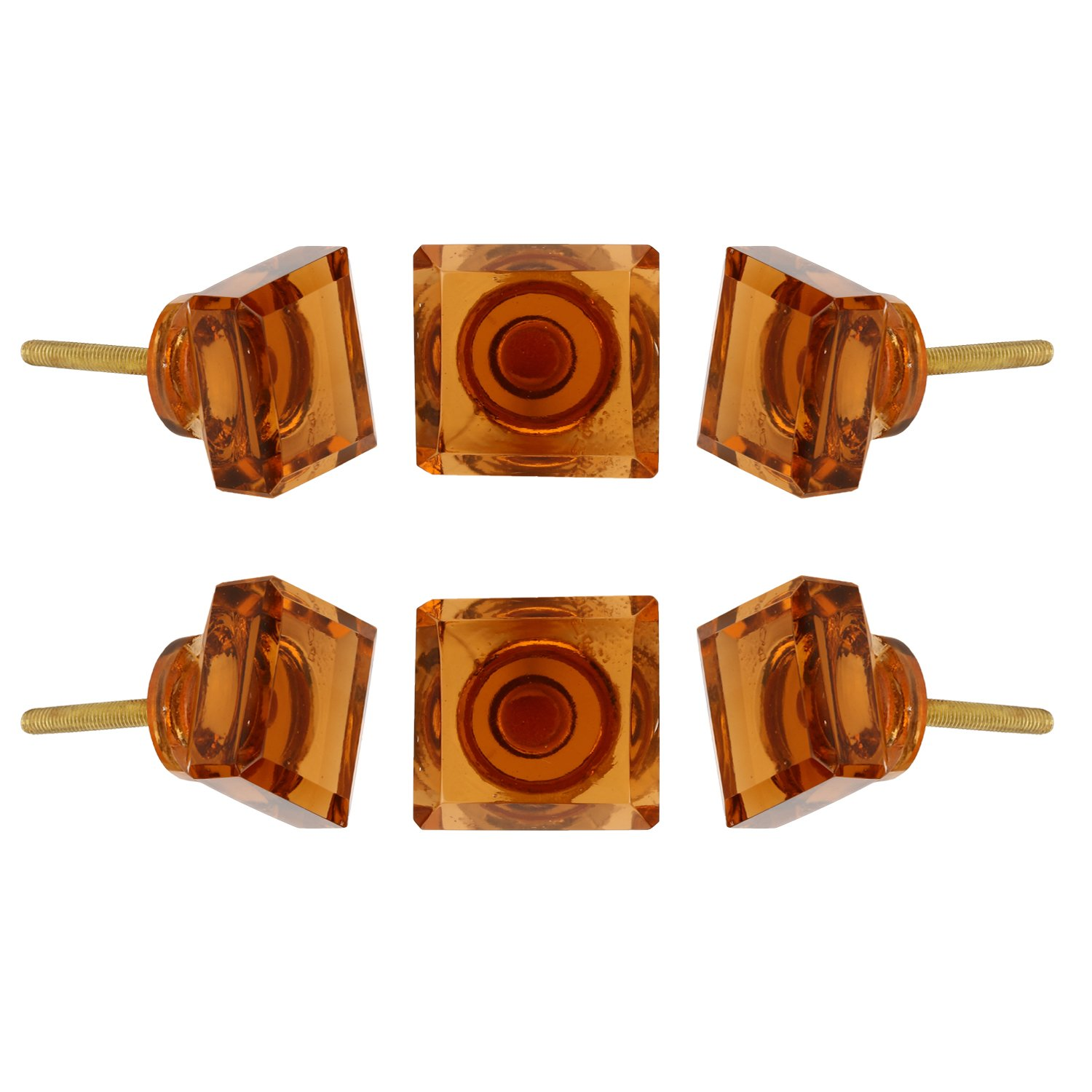 Perilla Home Set of 6 Crystal Glass Knobs Kitchen Cabinet Cupboard Glass Door Knobs Dresser Wardrobe and Drawer Pull (Amber)
