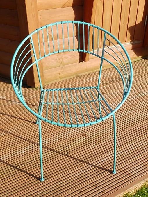 Silla de patio retro de hierro forjado bistro – mesa de a juego disponible.: Amazon.es: Jardín
