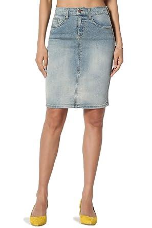 a114fb4e0127 TheMogan Women's Mid Rise Back Slit Pencil Above Knee Short Denim Skirt  Light 0