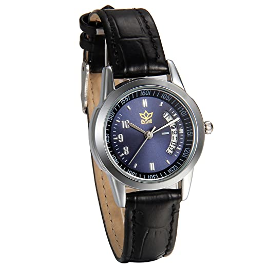 JewelryWe Relojes para Parejas Negros con Esfera Azul Oscuro, Reloj de Cuarzo Correa de Piel Con Calendario Diseño Casual, Regalo para Navidad San Valentín, ...