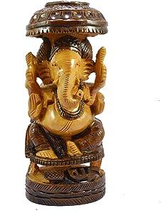 """Online Handmade Brown Wooden/Wood Carved Lord Ganesha/Ganpati/Ganesh Home Decor Diwali Special Idol Sculpture Handicraft Round Figurine Showpiece Art Decorative Festive Gift 16"""""""