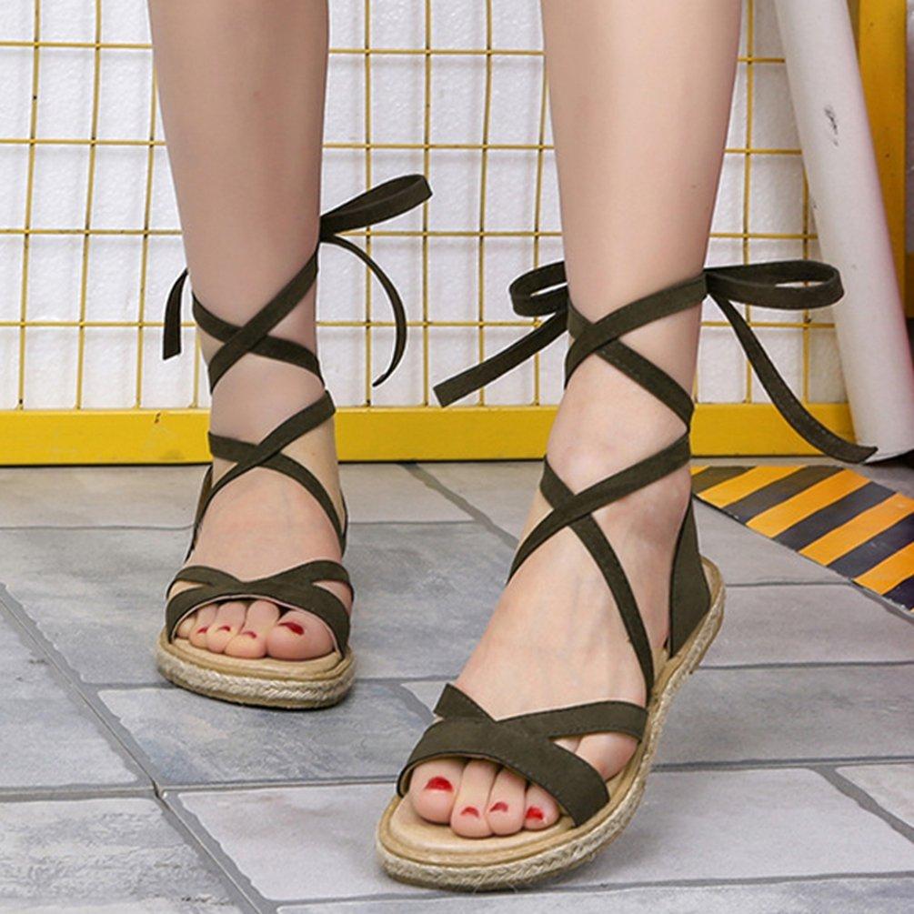 LvRaoo Donna Flatform Strappy Gladiatore Sandali Romani Lace up Peep Toe Infradito Flats Slip ONS