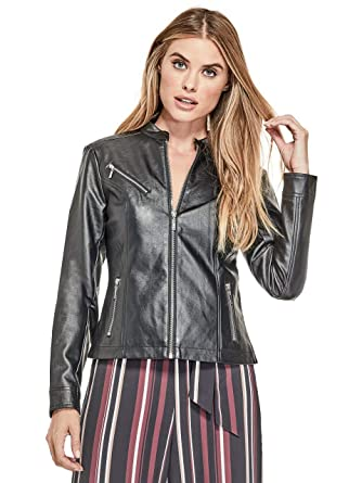 463ab3de GUESS Factory Women's Quana Faux-Leather Biker Jacket at Amazon Women's  Coats Shop