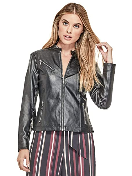 GUESS Factory Womens Quana Faux-Leather Biker Jacket