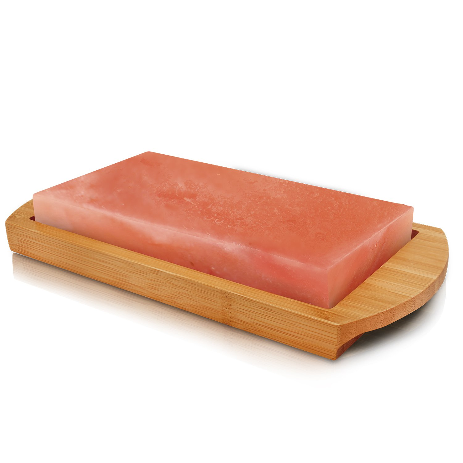 Himalayan Chef Pink Salt Gourmet Salt Cooking Plate & Serving Plate 4 x 8 x 1 with Bamboo Tray