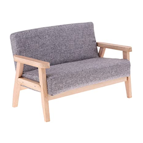 Baoblaze Mini Handmade Double Sofa Couch For 1/6 Action Figures Barbie BJD  Dollfie LUTS