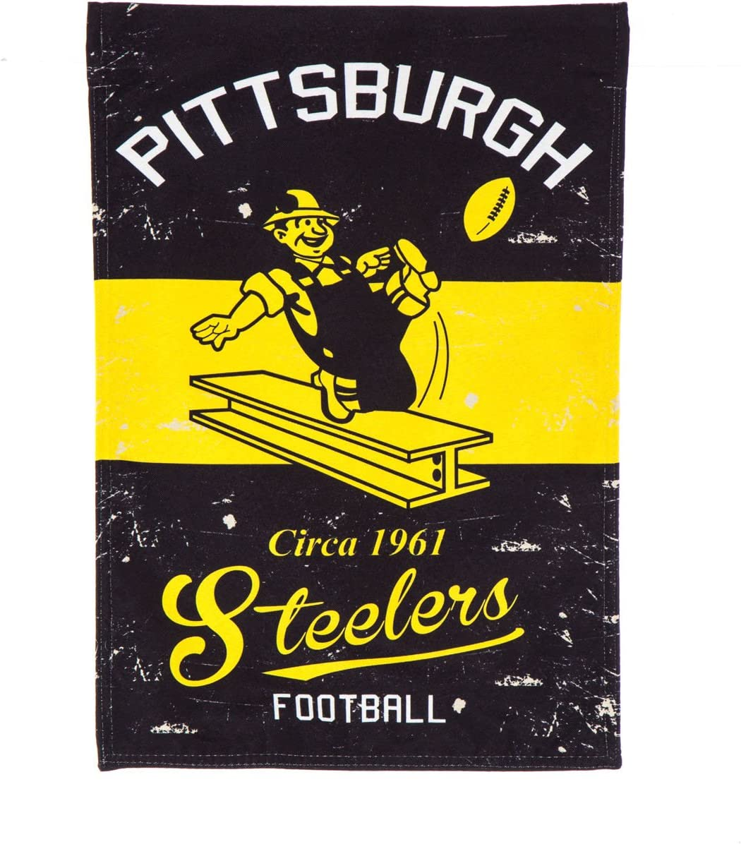 "Team Sports America Pittsburgh Steelers NFL Vintage Linen Garden Flag - 12.5"" W x 18"" H Outdoor Double Sided Décor Sign for Football Fans"