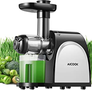 Juicer Machines, AICOOK Cold Press Juicer Machine Easy to Clean, Quiet Motor & Reverse Function, Two Filters, BPA-Free, High Nutrient Fruit and Vegetable, Recipes