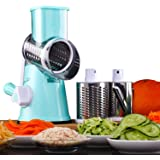 Multifunctional Manual Rotary Vegetable and Fruit Cutting Machine Cutting Machine for Fast Grinding Machine Multifunctional Kitchen Utensils Slicer Cheese Grater (Blue).