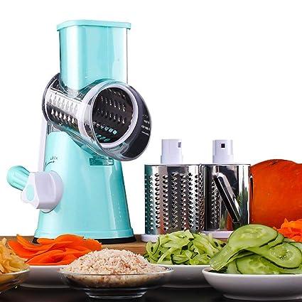 HUADEYI Máquina Multifuncional para Cortar Verduras y Frutas Tipo Tambor Giratorio rallador de Queso con 3 Cuchillas giratorias de Acero Inoxidable ...