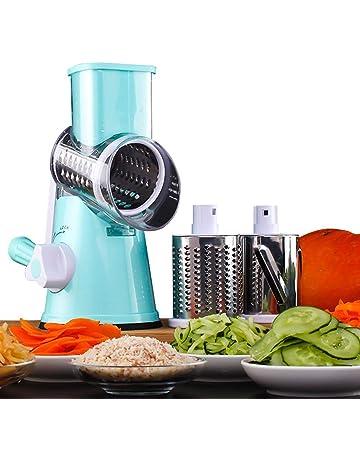 HUADEYI Máquina Multifuncional para Cortar Verduras y Frutas Tipo Tambor Giratorio rallador de Queso con 3