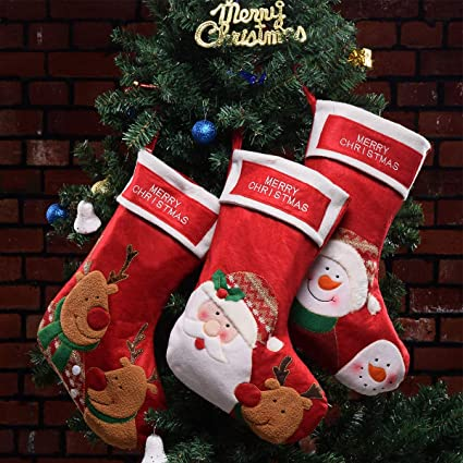 vanteriam red christmas stockings set of 3 embroidered christmas stocking kits for party decorations - Christmas Stocking Kits
