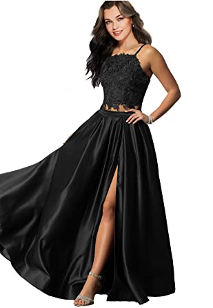 Lily Wedding Womens Sexy 2 Piece Prom Dresses 2018 Long Formal Evening Ball Gowns with Slit