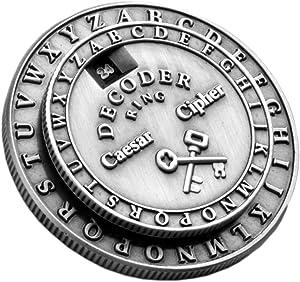 Retroworks Classic Caesar Cipher Medallion Silver Decoder Ring