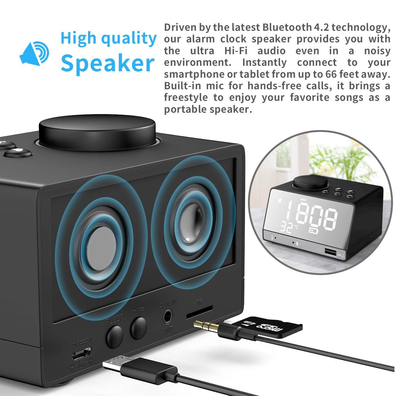 extsud Radio Despertador Digital Reloj Despertador Digital inalámbrico Bluetooth Altavoz con Radio FM, Alarma Dual, USB de Carga, termómetro para Dormitorio ...