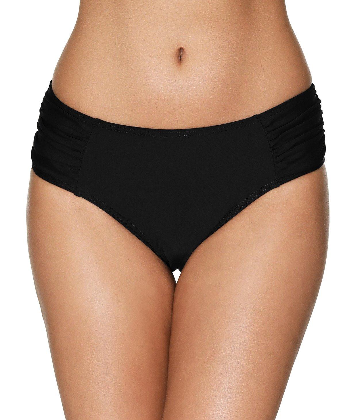 beautyin Women's Shirred Side Bikini Bottoms Solid Swim Bottom Swimwear Briefs