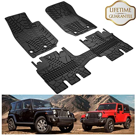 KIWI MASTER Floor Mats Compatible for 2014-2018 Jeep Wrangler JK 4-Door  Unlimited, TPE All Weather Front and Rear OEM Slush Floor Liner Set (Not  for 2