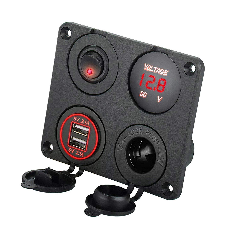 Boots LKW Marine ON//Off Schalter /& Zigarettenanz/ünder Panel f/ür Auto Rot LED-Voltmeter 12V 4.2A Dual-USB-Ladeger/ät-Steckdose EEEKit 4 in 1 Ladeger/ät Schalter Panel