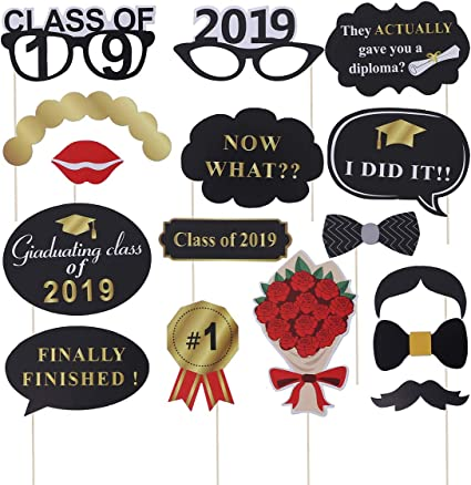 Graduation Party Supplies Photo Booth Picture Frame Class of 2019 Paper Props ia