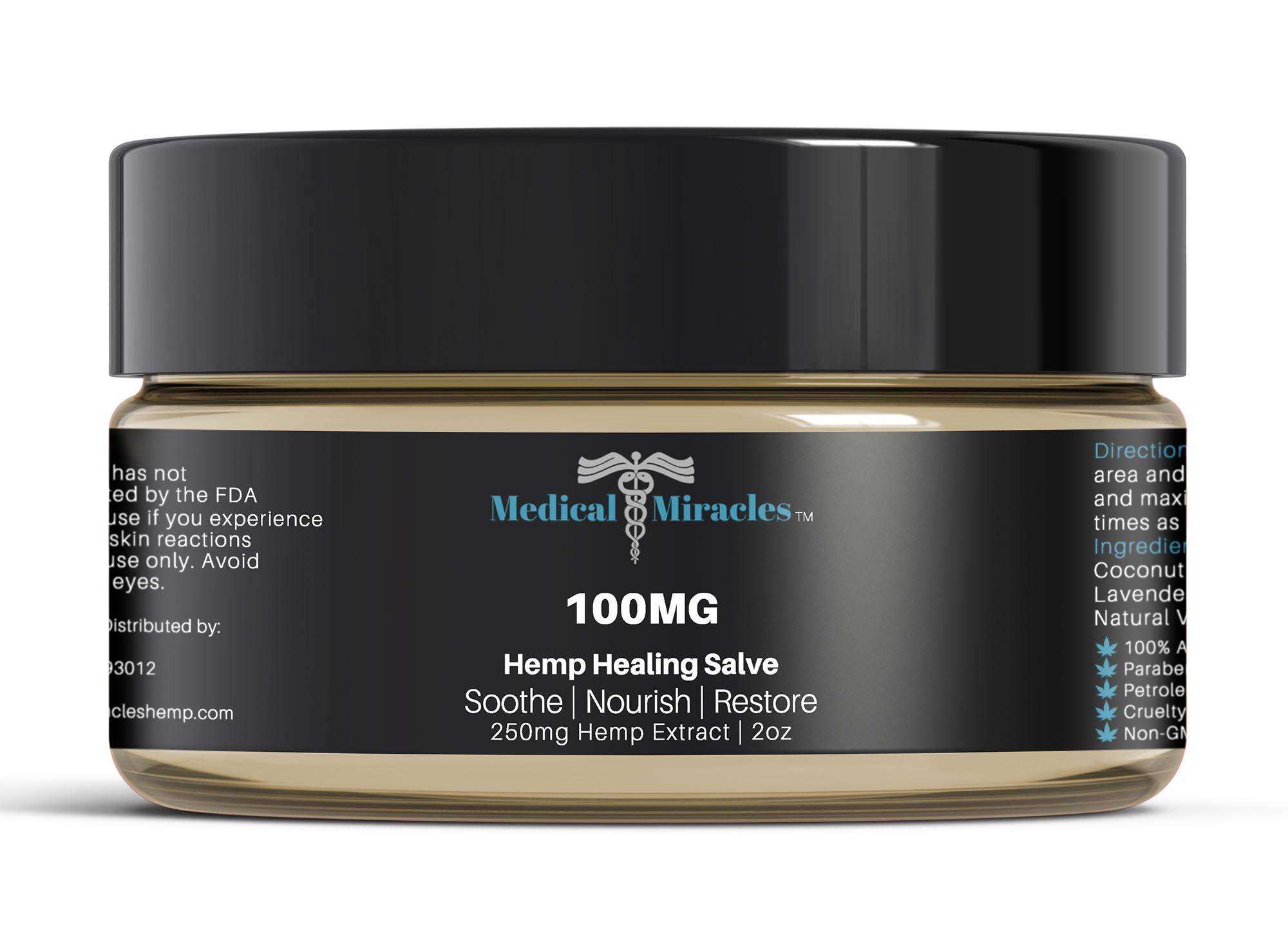 Medical Miracles Hemp 100 Mg Regular Strength Healing Hemp Salve, Relieves Inflammation, Muscle, Joint, Knee, Nerves, and Arthritis Pain. 100% Natural Cream